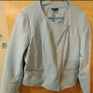 Jackets & Blazers - Vegan baby blue faux leather jacket